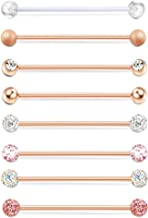 Finrezio 8PCS 14G 38mm Stainless Steel Acrylic Industrial Barbell Ear Cartilage Helix-Conch Piercing Bar 1 1/2 Inch
