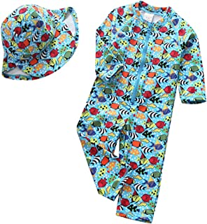 Collager Toddler Baby Boy Girls One Piece Long Sleeve Sunsuits Zipper Rash Guard Sun Protection with Swimming Hat