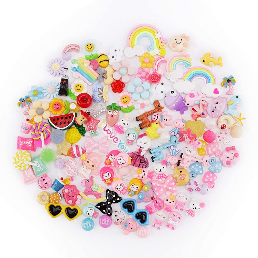 Fashionclubs Slime Charms 120 Pieces Assorted Sweets|Fruit|Candy|Animals Mixed Slime Beads,Flatback Scrapbook Resin Cabochons Craft Buttons Slime Making Supplies Set Kids&Adults Craft DIY Ornaments