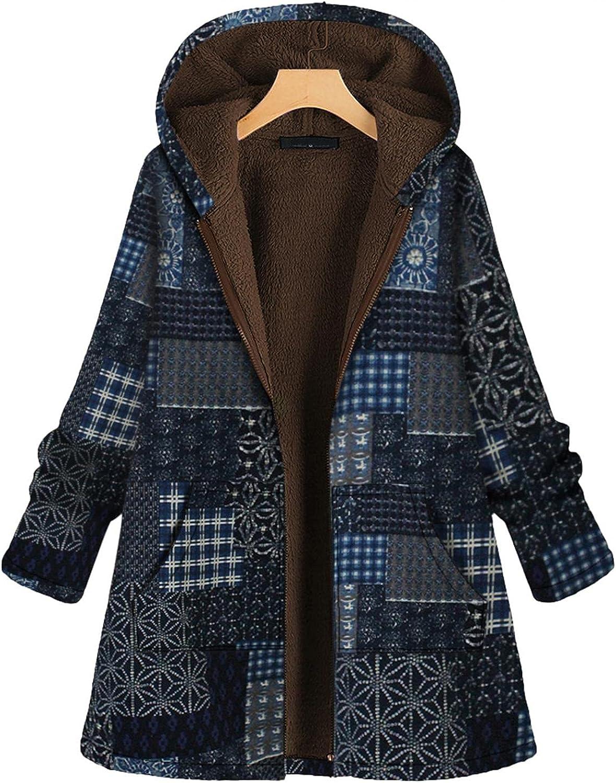 YUNDAN Women Winter Coats Hooded Vintage Flowers Print Warm Fleece Long Sleeve Oversized Jacket Pullover Outwear