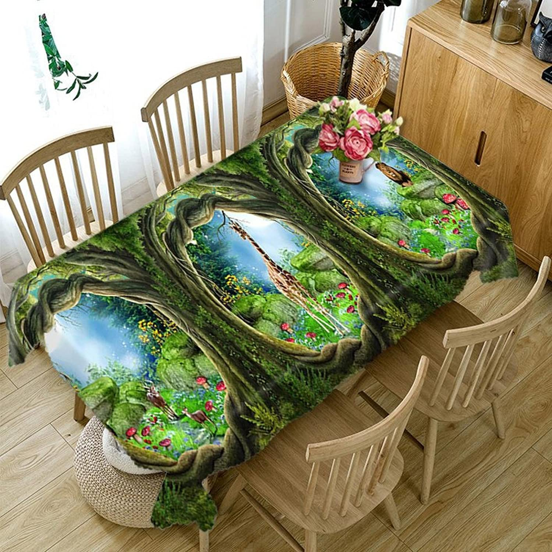 HUANZI HZ Tablecloth 3D Three Tree Holes Digital Printing Dustproof Dinner Desktop Top Cover Rectangular, rectangle  wide 152cmx long 228cm