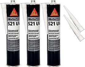 Sika flex-521 UV-weerbestendige hechtsterke afdichtstof, 300 ml, wit, 3 set met 5 sproeipunten