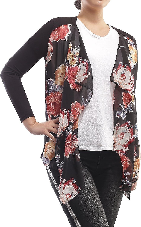 AMORE ALLFY Women's Print Chiffon Front Long Sleeve Cardigan Black Medium