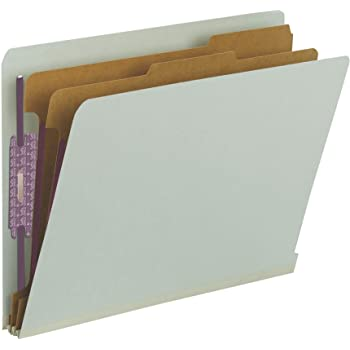 """Smead 100% Recycled End Tab Pressboard Classification File Folder with SafeSHIELD Fasteners, 2 Dividers, 2"""" Expansion, Letter Size, Gray/Green, 10 per Box (26810)"""