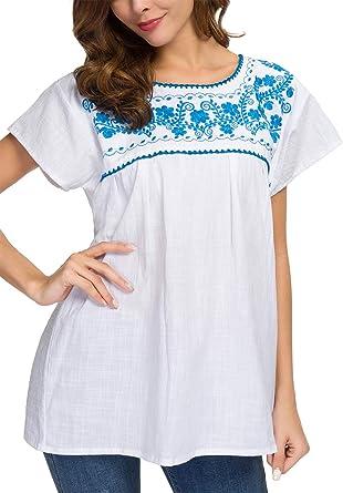 YZXDORWJ Blusa Mexicana de algodón para Mujer, Camisa Blanca ...