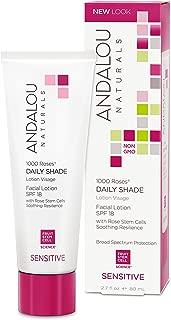 Andalou Naturals 1000 Roses Daily Shade Facial Lotion SPF 18, 2.7 Ounce