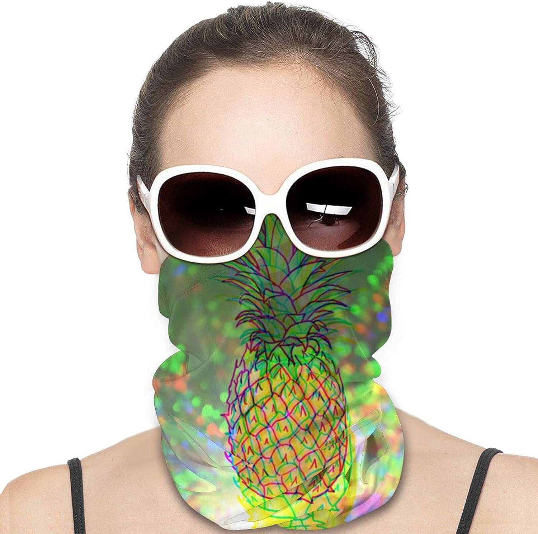 Trippy Pineapple Sparkle Glitting Unisex Face Mask Sun-Proof Summer Cloth Masks Balaclava Headband Scarf Neck Gaiter Warm Bandana for Cycling Camping Running for Men Women Black