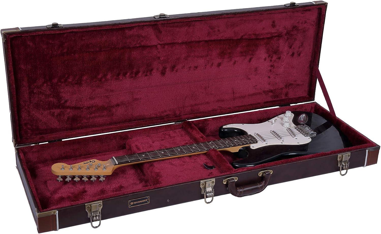 Crossrock 国内即発送 CRW600EBR Wooden Case Fits Fender 待望 Strat and Telecaster