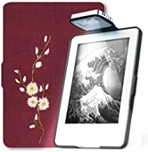 Young Me All New Kindle E-reader Rechargeable Led Light and Auto Wake/Sleep and Hand Strap Leather Cover/Case for Kindle 2016 6 inch 8th generation( Not Fit Kindle Paperwhite) Daisy