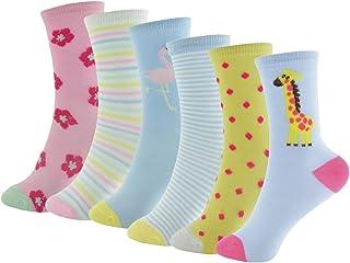 6 Pares de Calcetines de Flamenco, Jirafa y Estampados en Colores Pastel para Niñas