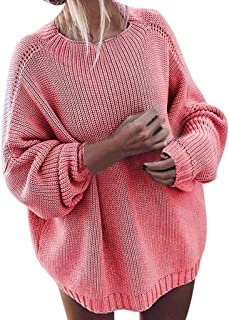 Womens Crew Neck Sweater Long Sleeve Knit Oversized Pullover Jumper Autumn Winter Knitwear