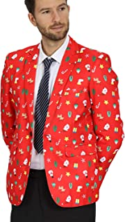 WEEN CHARM Mens Ugly Christmas Print Blazer Two Button Slim Fit Christmas Suit Jacket