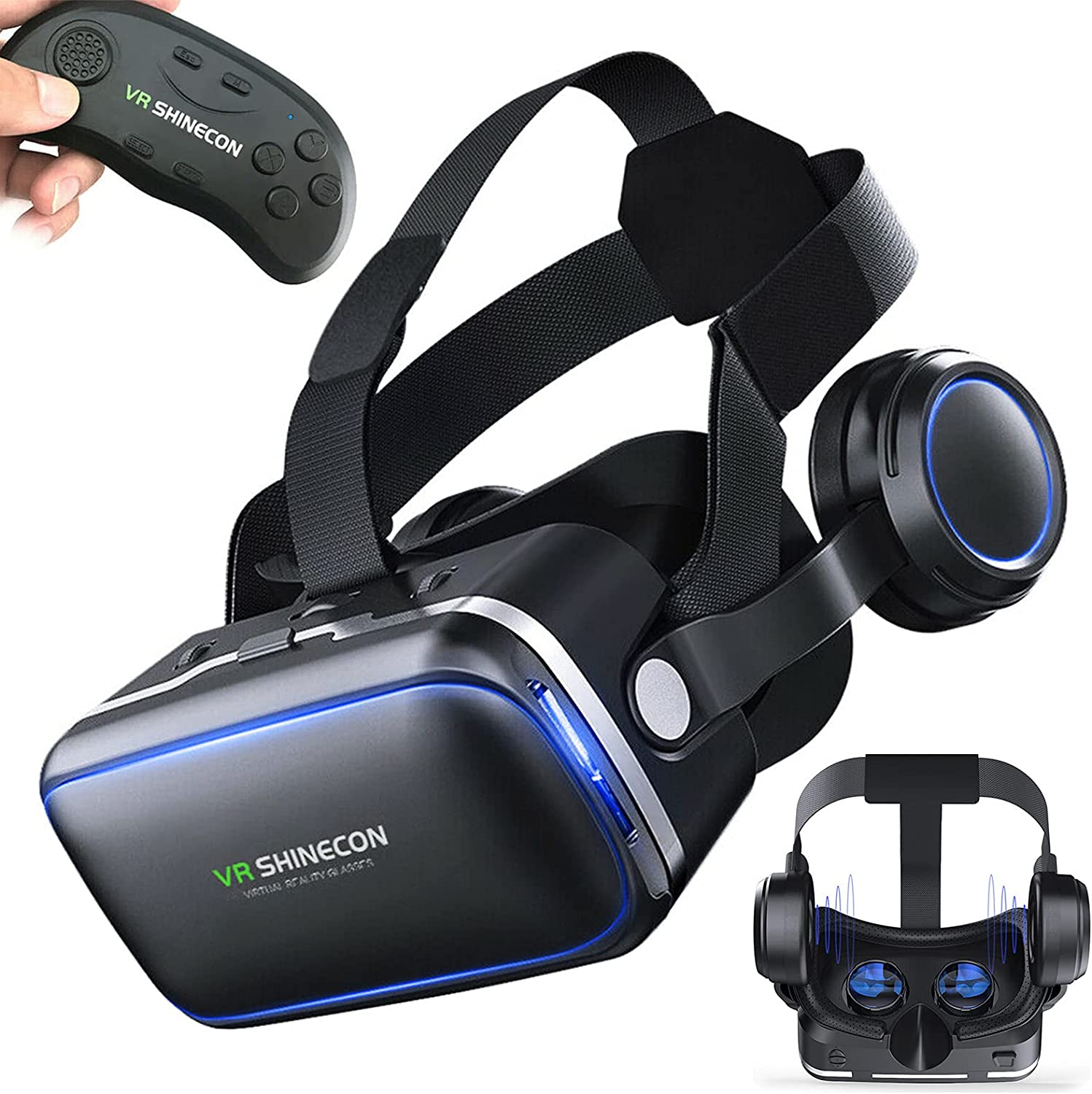 VR Headset with Remote Controller Compatible with iPhone and Android Phones,Adjustable 3D VR Glasses Goggles,PC Virtual Reality Headsets Goggles for Kids and Adults
