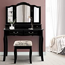 Artiss Dressing Table Set | Vanity Makeup Table with Foldable Mirror and Stool - Black