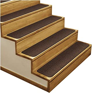 House, Home and More Set of 15 Skid-Resistant Double-Ribbed Carpet Stair Treads - Bittersweet Brown - 9 Inches X 36 Inches