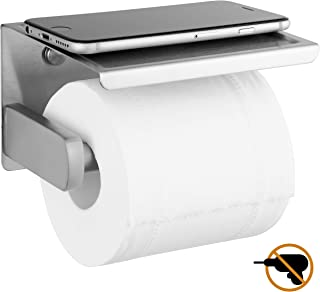 Polarduck Toilet Paper Holder with Phone Self Brushed Nickel, Self Adhesive Toilet Paper Holder for Bathroom, SUS 304 Stainless Steel, Two Installation of 3M Self-Adhesive and Wall Mounted (Silver)