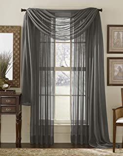 HLC.ME Charcoal Grey Sheer Voile Window Curtain Swag Scarf - Valance - Fully Stitched and Hemmed - 55 x 216 inch Long