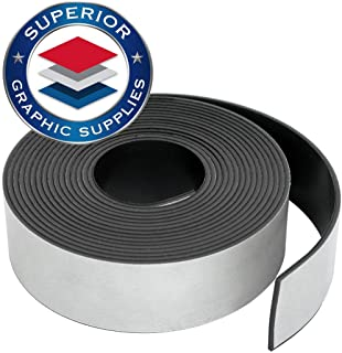 """Superior Graphic Supplies Flexible Magnetic Tape - Self Adhesive Magnetic Tape Roll   30 Mil(0.03"""") Thick, Adhesive, 1 Roll Pack (1"""" x 5`)"""