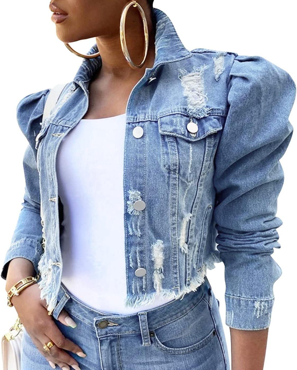 WanXingLiHe Women's Ripped Casual Denim Jacket Long Sleeve Slim Button Down Jean Jackets Coat,Blue,L