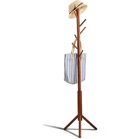 Color Natural Perchero Ropa de /árbol de bamb/ú Ropa Abrigo Sombrero Soporte 8 Gancho de pie Pantalla de m/últiples Capas Independiente Estante del /árbol de Pasillo para el Dormitorio en casa Pasillo