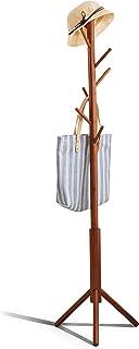 Premium Bamboo Coat Rack Tree with 8 Hooks, 3 Adjustable Sizes Free Standing Wooden Coat Rack, Super Easy Assembly Hallwa...