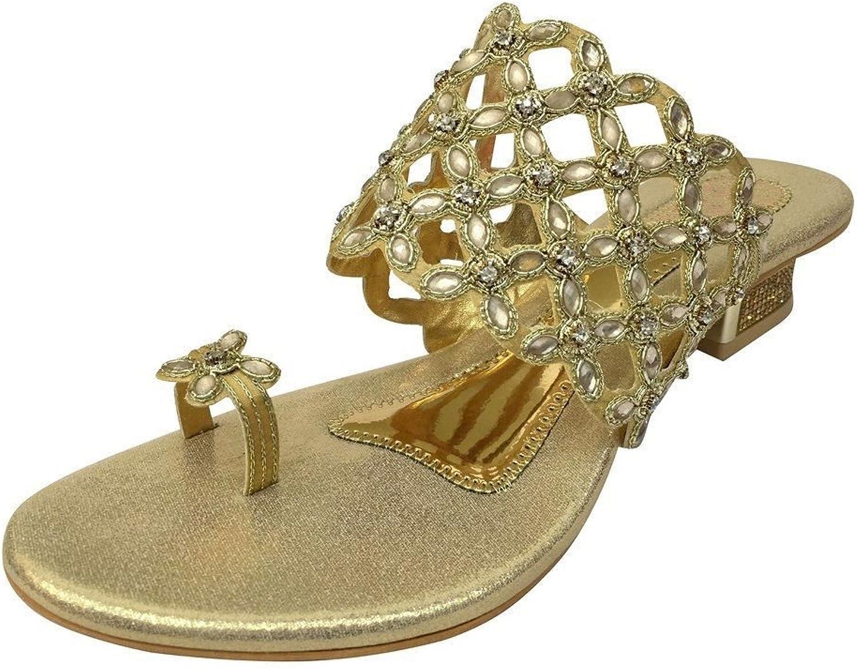 Step n Style New Ladies Diamante Mid Heel Evening Bridal Slip On shoes Sandal Mules