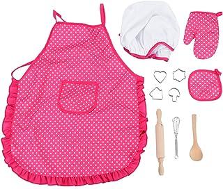 Acogedorシェフセット、コンプリートキッズキッチンギフトプレイセット - シェフの帽子、エプロン、調理用具、調理器具付きキッズロールプレイセット子供のふりプレイ女の子用11ピースパーフェクトギフト