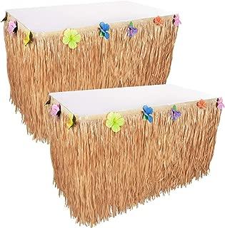 Kicko Luau Hawaiian Grass Table Skirt Decorations - 2 Pack 9 Feet X 29 Inches - Real Hawaiian Island Party Feel - Party Decoration, Events, Birthdays, Celebration