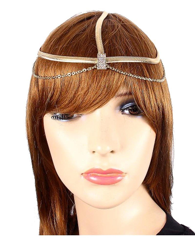 Head Jewelry ~ Goldtone Head Chain W Crystals Headband (JH1022-GDC)