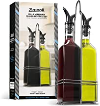 Zeppoli Oil and Vinegar Bottle Set with Stainless Steel Rack and Removable Cork – Dual Olive Oil Spout – Olive Oil Dispenser, 17oz Olive Oil Bottle and Vinegar Bottle Glass Set