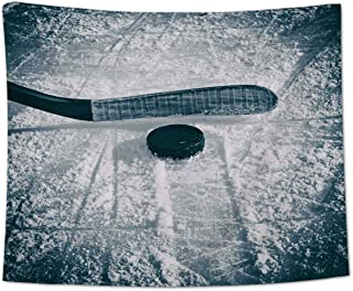 Chees D Zone Ice Hockey Sport Throw Tapestry, Wall Hanging Tapestries for Bedroom Living Room Dorm Decor, Winter Season Sports Lover 59x90inch