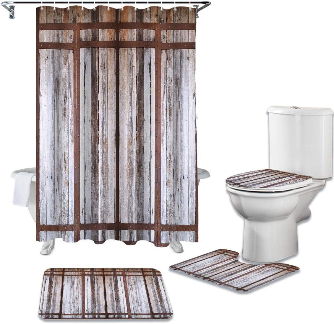 4 Pcs Shower Curtain Soldering Sets with Bathroom Non-Slip Farm Super-cheap Vinta Rugs