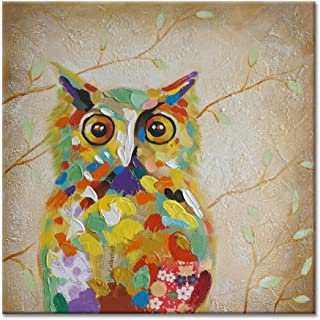 SEVEN WALL ARTS - Modern Colorful Owl Painting Decorative Abstract Quirky Birds Artwork with Stretched Frame for Home Decor Ready to Hang 24 x 24 Inch