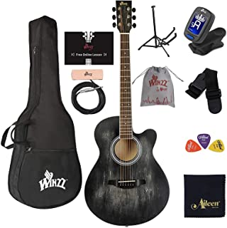 "WINZZ HAND RUBBED Series 40 Inches Cutaway Acoustic Guitar""Premium Beginner"" Bundle, Black"