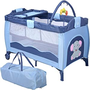 COSTWAY Portable Infant Baby Travel Cot  Bed Play Pen  Child Bassinet Playpen Entryway  with Mat  Blue