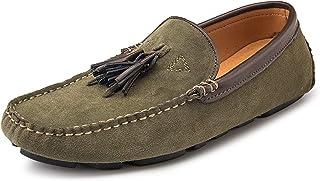DIYHM Paysel Loafer pour Hommes Lame MOC Toe Faux Sueder Insipide Caoutchouc Solle Solle sur Couture à la Main Chaussures ...