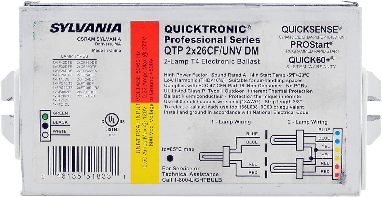 Sylvania QTP2x26CF UNV-DM Compact Fluorescent T Ballast 5 ☆ popular Max 56% OFF 2-Lamp