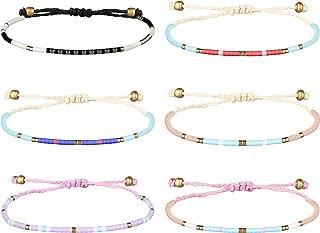 """6Pcs Seed Bead Bracelets for Women Girls Handmade Braided Best Friendship Bracelets Set for Summer, 6""""~9"""" Adjustable"""