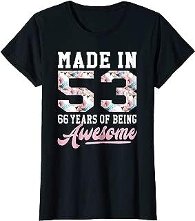 66 Years Old Birthday Girl TShirt Born in 1953 66th Birthday