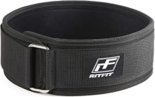 RitFit Weight Lifting Belt - Squat, Clean, Olympic Lifting - for Men and Women - 4 Inch Black- Firm & Comfortable Lumbar Support with Back Injury Protection