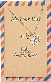 Quan Jewelry Imitation July Birthstone Ruby Swarovski Crystal Pendant Chain Necklace, Yoga Lotus Flower with Om Symbol Bir...