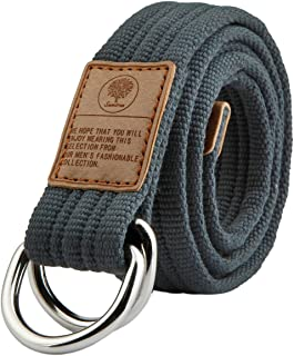 Shanxing Canvas Belts for Men,Military Webbing Double D Ring Buckle Belt