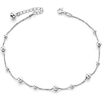 Ankle Bracelet 925 Sterling Silver Beach Foot Jewelry Runsmooth Chain Anklet for Women and Teen Girls