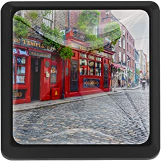 The Temple Bar in Dublin Ireland 3 Pack Crystal Glass Cabinet Knob Drawer Pull Handle for Kitchen, Cupboard, Dresser, Wardrobe