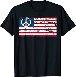 Distressed American USA Flag with Peace Sign T-shirt