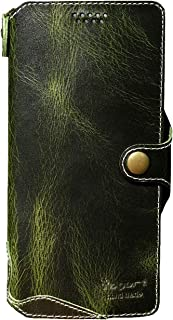 Yogurt Case for Samsung Galaxy S21 5G, Genuine Leather Wallet Cover for Samsung S21, Handmade Green