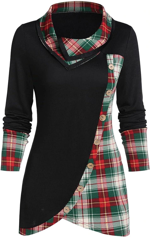 977 Womens Bib Collar Hoodie Long Sleeve Cowl Neck Asymmetrical Side Button Tunic Top Pliad Print Loose Blouse