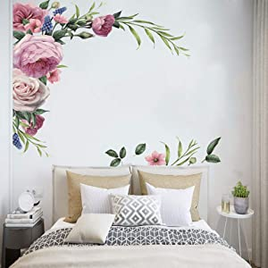 MOLANCIA Watercolor Floral Flowers Wall Decals, Peony Rose Wall Stickers,Peonies Wall Art Decor Murals,Blossom Flowers Wall Posters,Floral Wallpaper for Bedroom Girls Room Living Room Kitchen Nursery