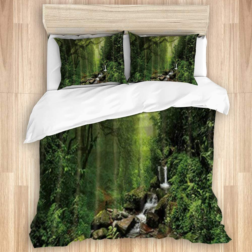 LONSANT Washed Cotton Duvet Cover Set Rainforest Jungle Tropical Seattle Mall In stock