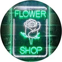 Flower Shop Open Rose Display Dual Color LED Neon Sign White & Green 400 x 600mm st6s46-i3536-wg